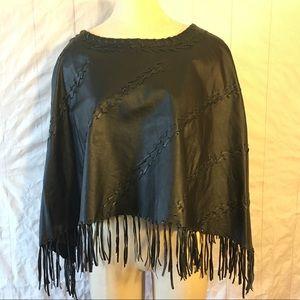 Black Leather Fringed Shawl